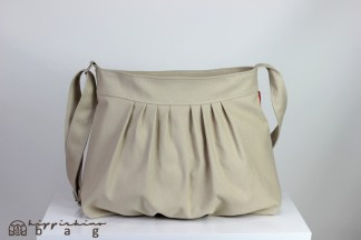 Beige Pleated Crossbody Purse Bag