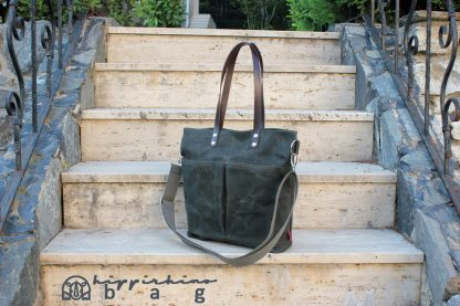 Waxed Tote Bag Leather Strap