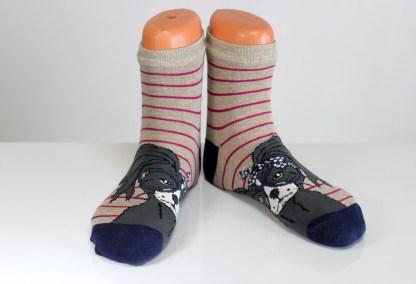 striped cat faced socks