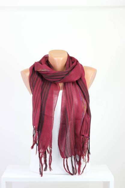 Maroon Silver Striped Scarf