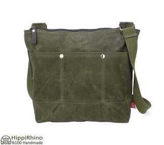 Dark Military Green Waxed Tote Bag Webbing Cotton Strap