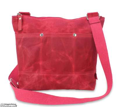 Red Waxed Canvas Tote Bag