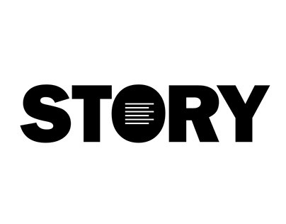 story magazine logo o has text inside
