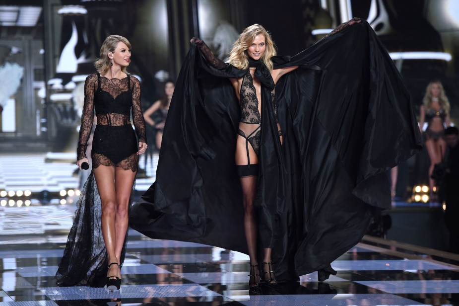 Taylor Swift and Karlie Kloss on the Victoria's Secret catwalk