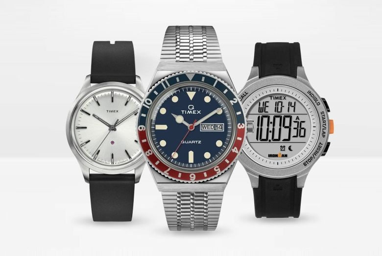 Timex watch line including the Q Timex, Timex Indiglo and their dress line