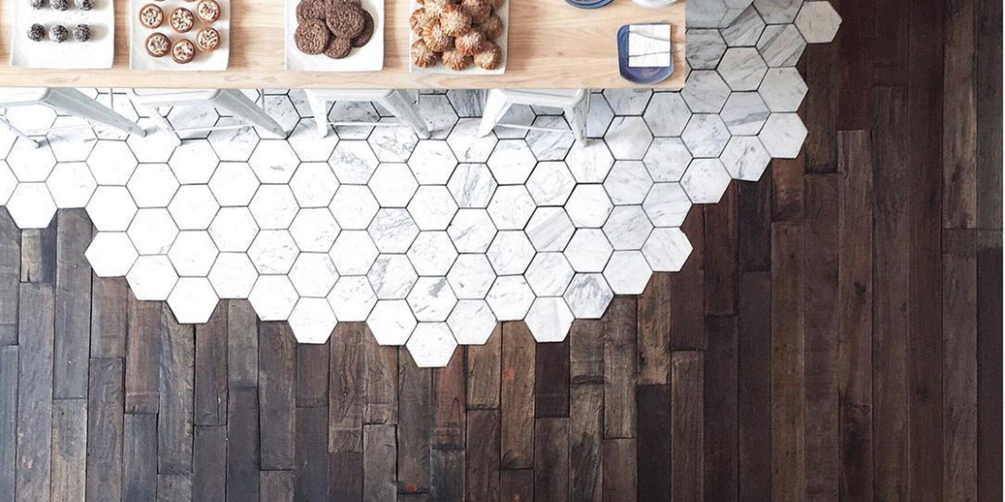 hexagonal tiles and hardwood make the
