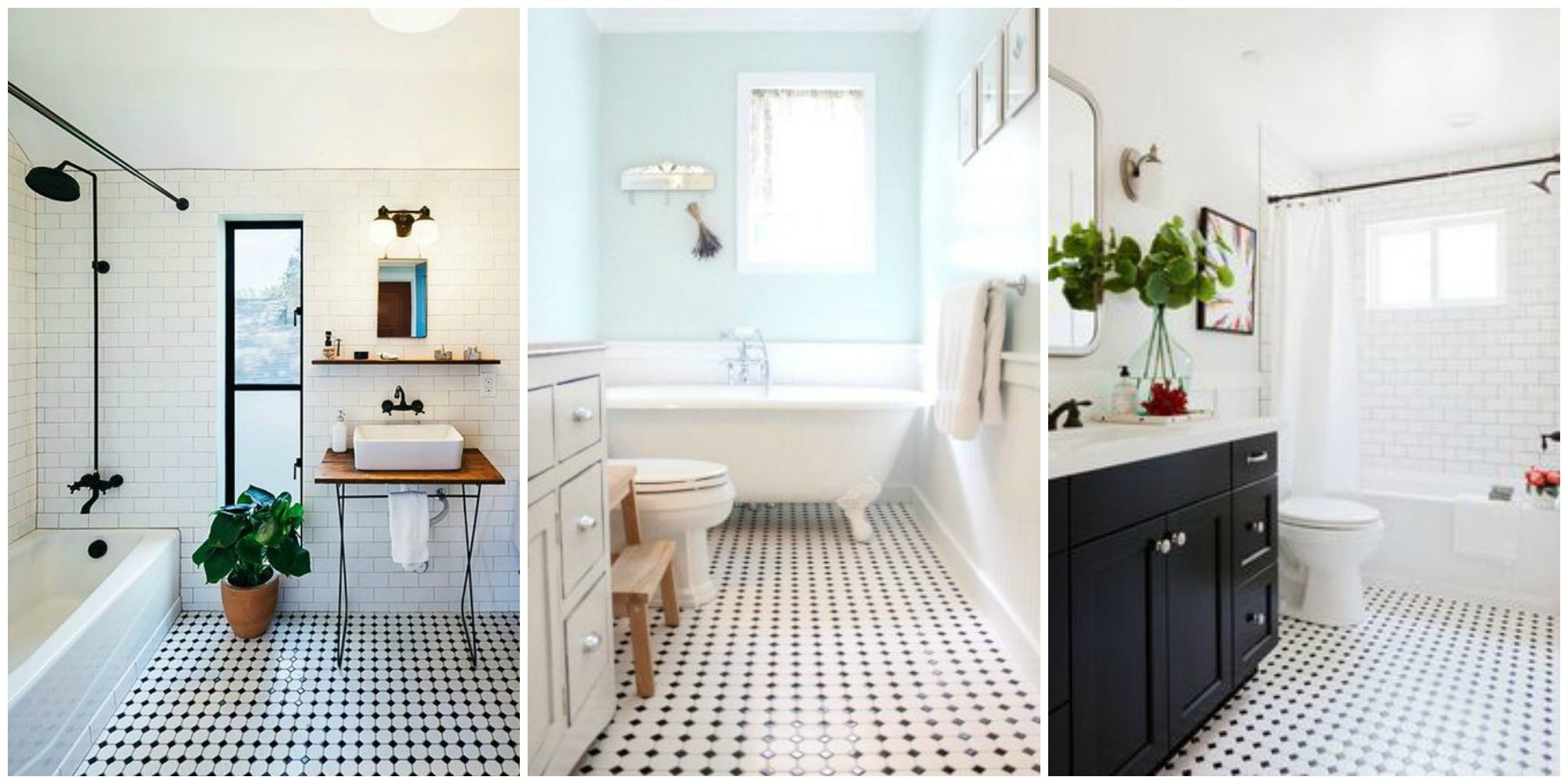 classic black and white tiled bathroom