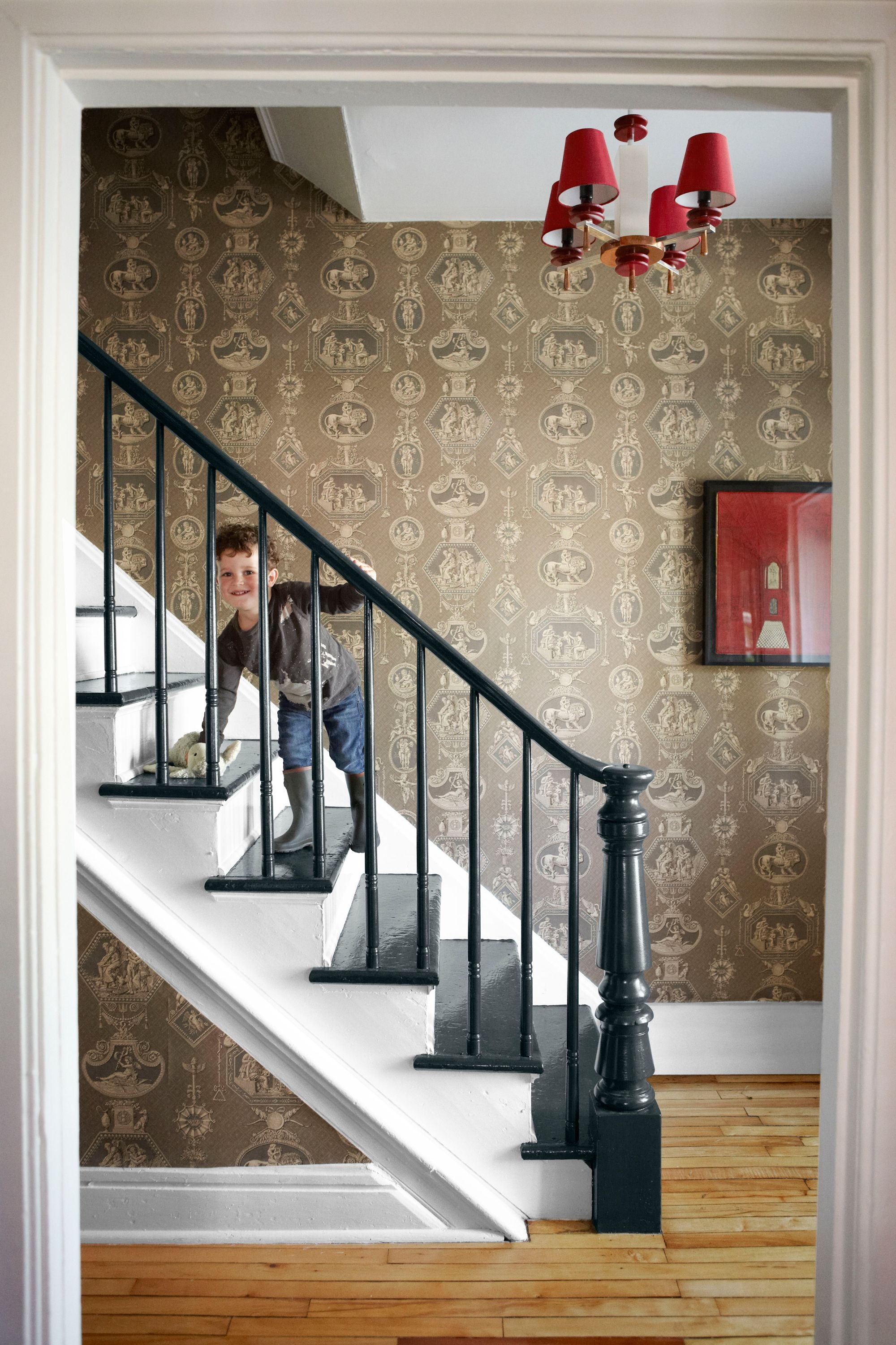 18 Pretty Painted Stairs How To Paint Stair Rails Risers And More | Painted Black Stair Railing | Carpet | High Gloss | Wall Both Side | Step | Colour Combination