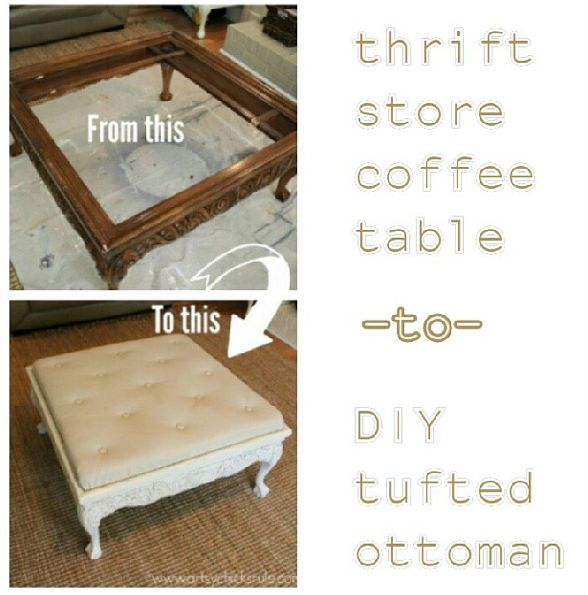 diy tufted ottoman coffee table before