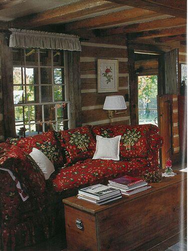 Vintage Country Living Rustic Adirondacks Living Room