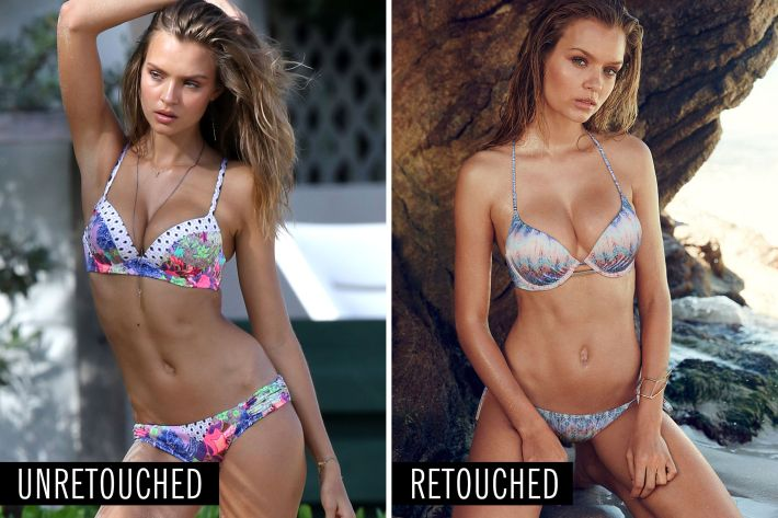 here's what 9 victoria's secret models look like with and without