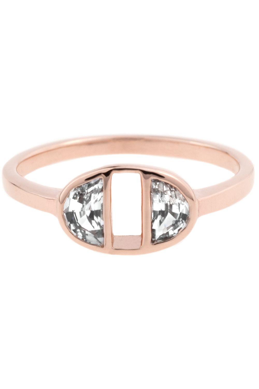 Half-Moon Sapphire Ring 14K rose gold high polish.