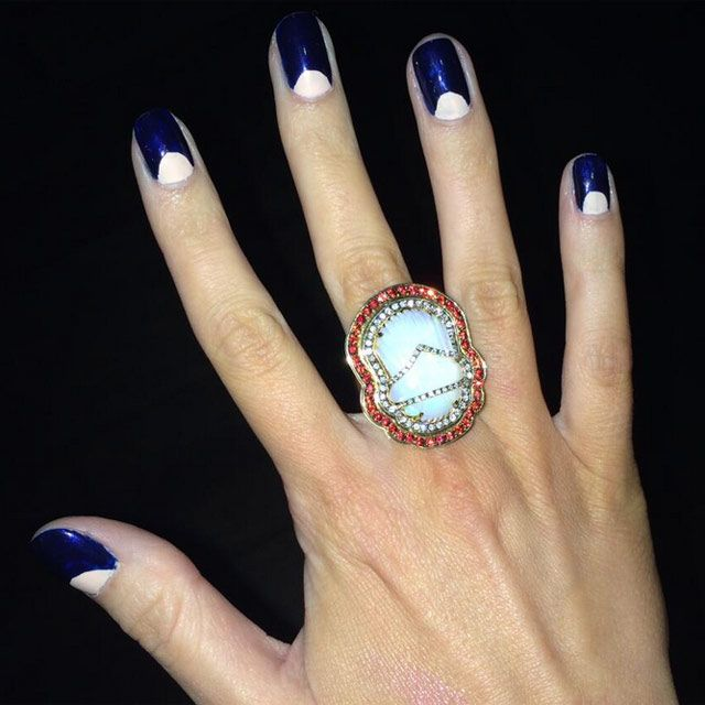 Of Beauty We Re Still Swooning Over Following Our Ultimate Women The Year Awards Is Mollie King S Manicure How Cool Her Half Moon Nail Art