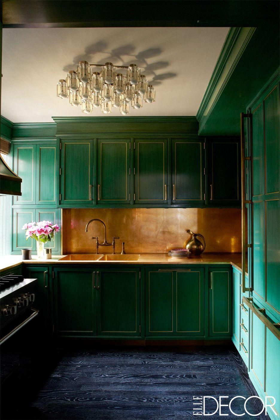 Green kitchen cabinets, gold backsplash, Kelly Wearstler, Cameron Diz