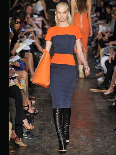 Victoria Beckham TANGERINE AND NAVY - ELLE UK