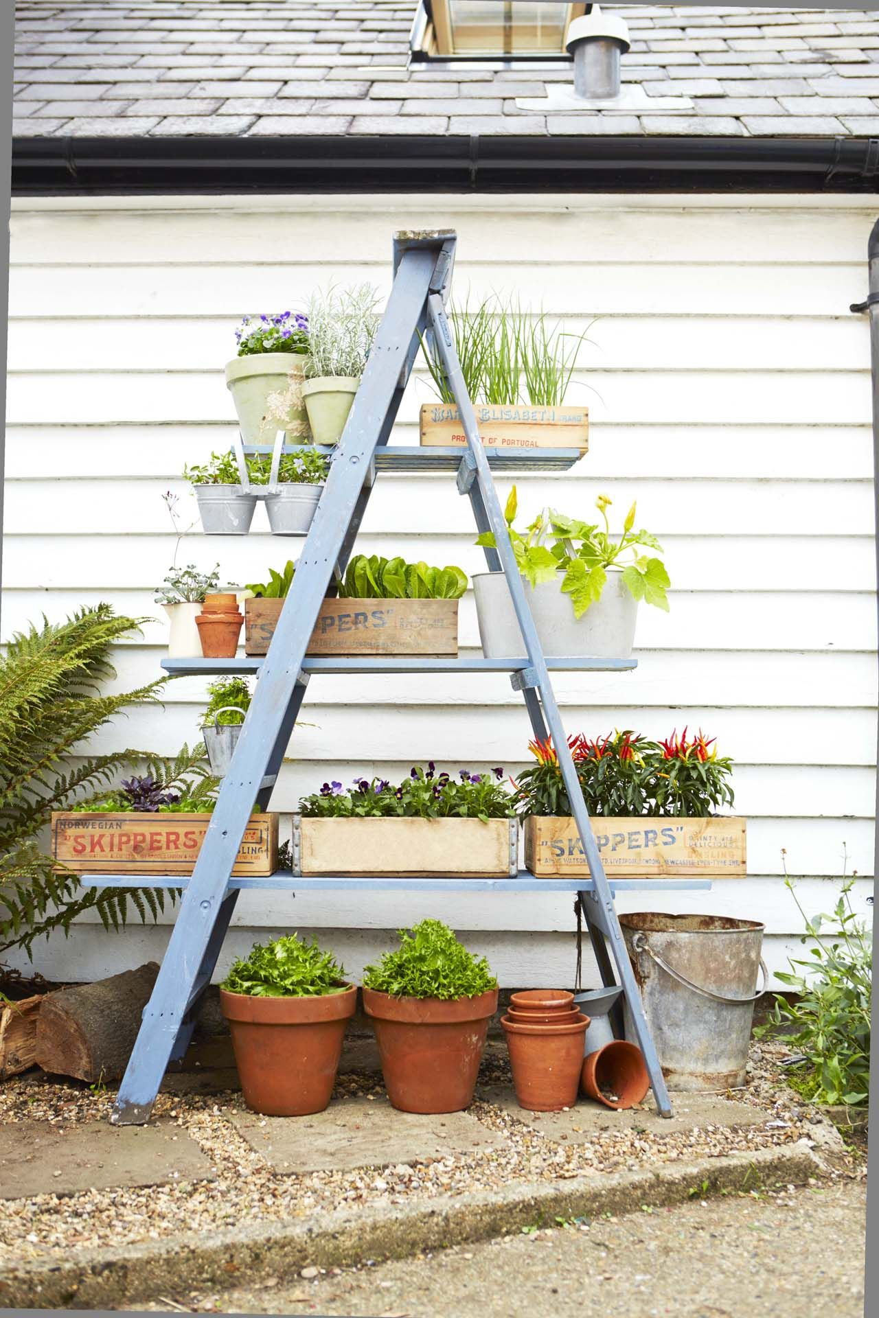 instructions to diy a ladder planter stand