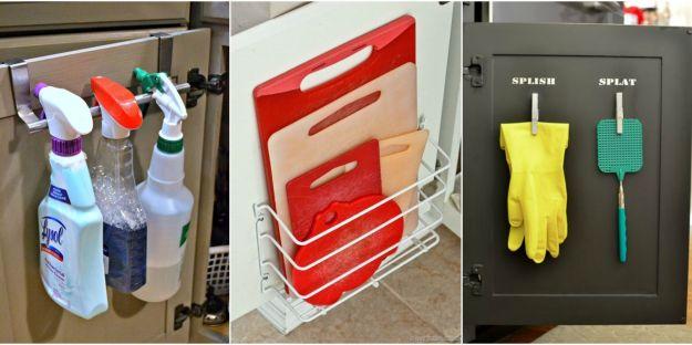 cabinet door storage ideas - organization tricks for cabinets