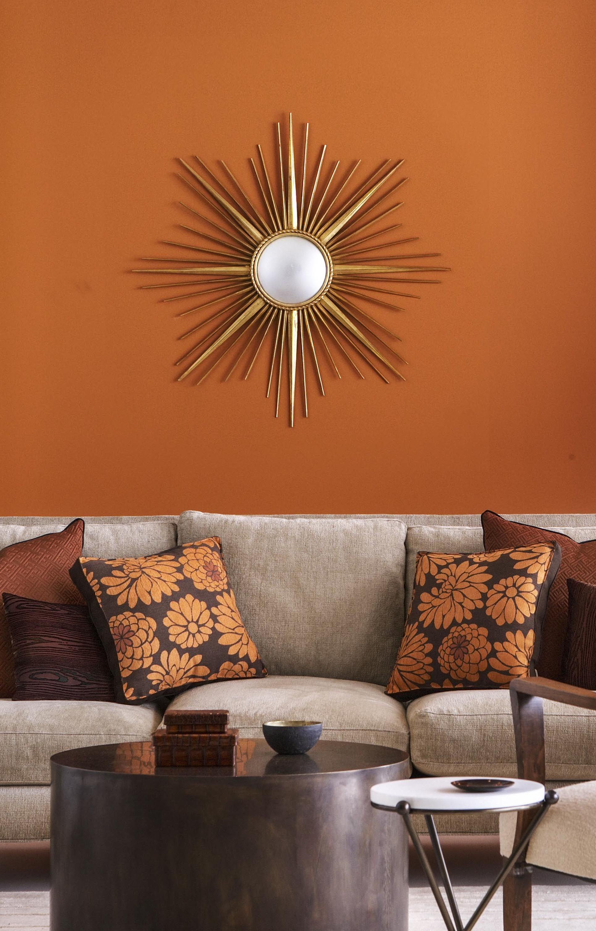 Gray Living Rooms With Burnt Orange Accents