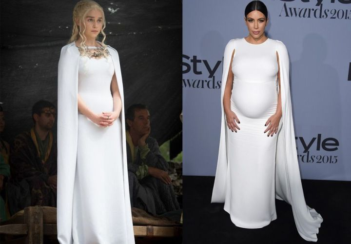 Daenerys et Kim Kardashian avec une robe blanche similaire.