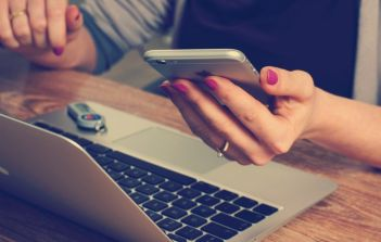 Multitasking on phone and laptop