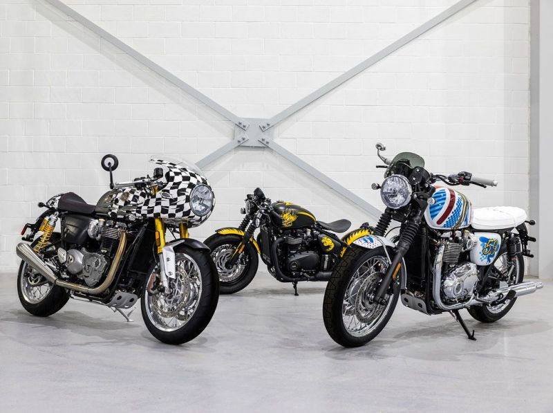 Legendary Artist D*Face Designed Three Custom Motorcycles for Triumph 1
