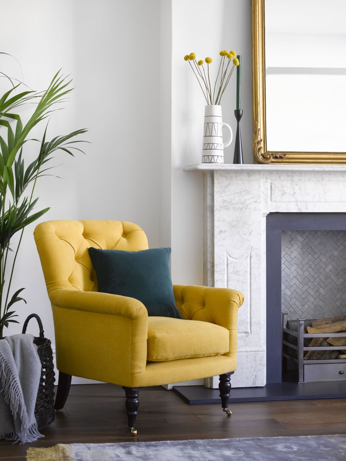 alcove ideas, mustard yellow armchair in nook of living room
