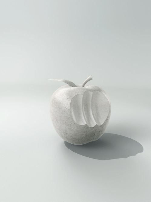 Apple made of concrete with bite