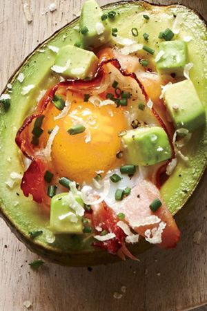 baked avocado with egg and ham