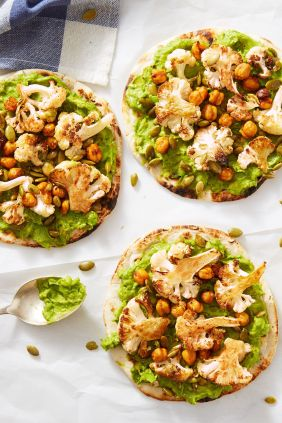flatbread with avocado, cauliflower, and chickpeas