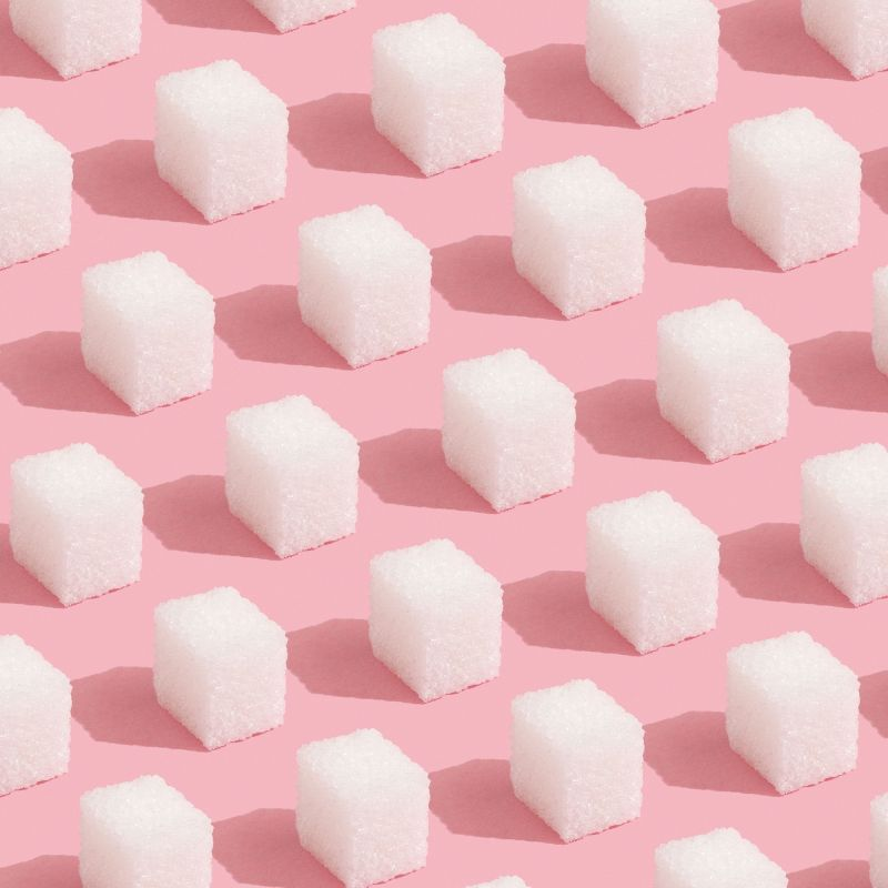 rows of sugar cubes