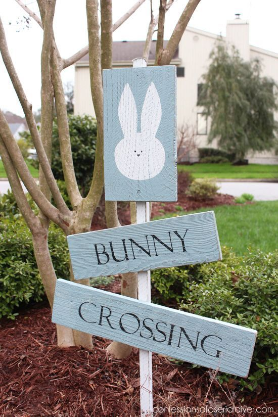 bunny crossing sign easter decorations