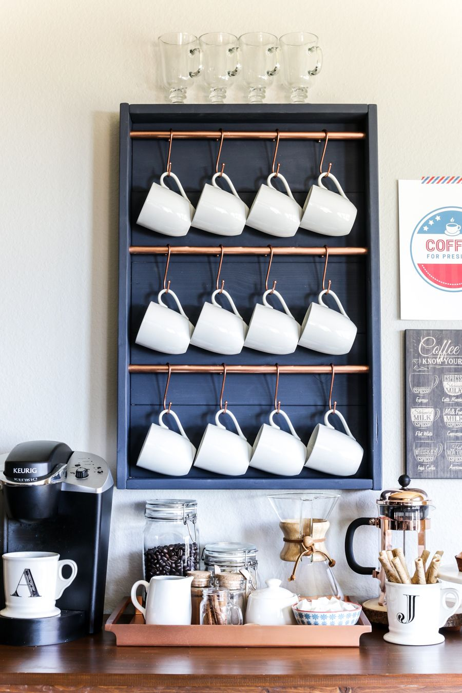 Coffee Bar Ideas - Hanging Mugs