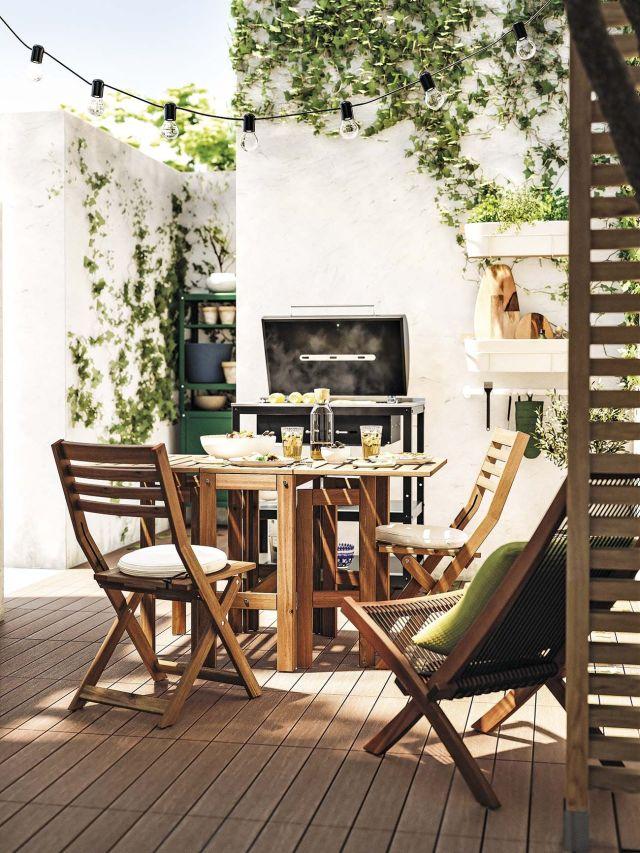 muebles de jardín comedor de madera con barbacoa
