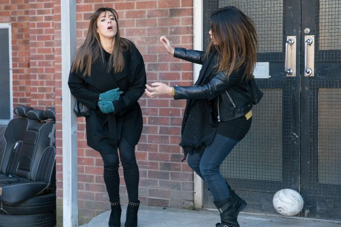 Michelle Connor gets hit by a football in Coronation Street