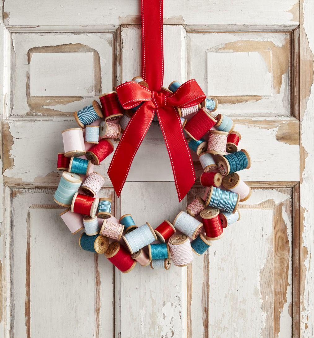 diy christmas decorations wreath thread