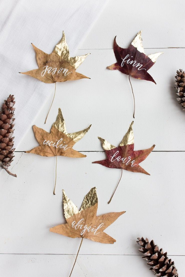 gold dipped leaf name card lark and linen