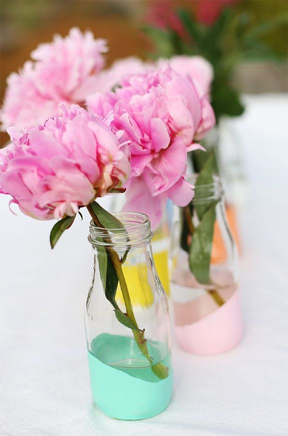 easter flowers - painted milk bottles