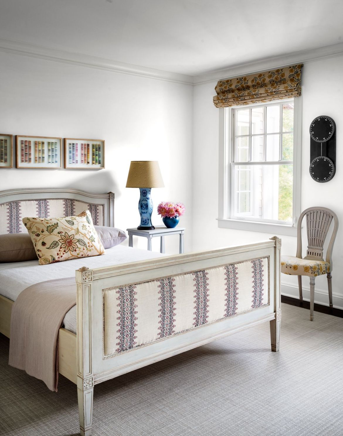 james huniford white bedroom with bed with embroidered headboard and footboard