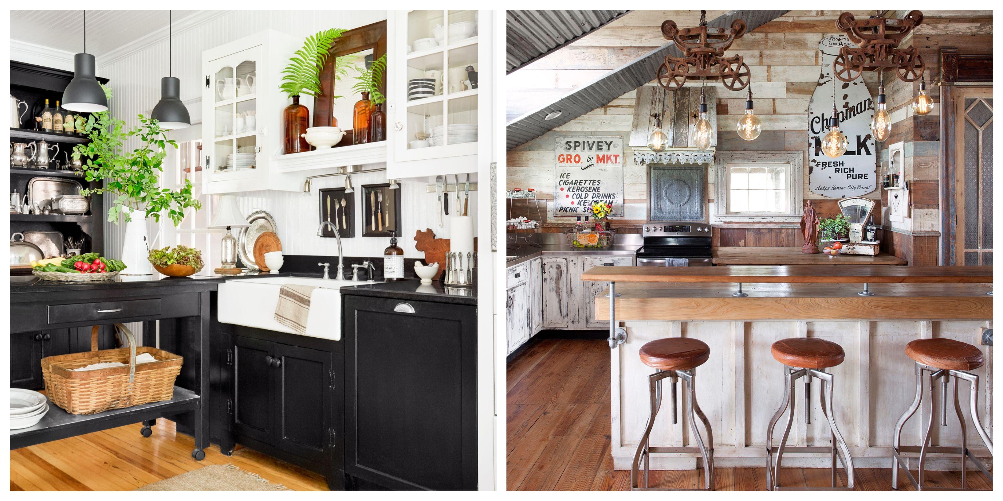 34 Farmhouse Style Kitchens - Rustic Decor Ideas for Kitchens on Farmhouse Kitchen Ideas  id=44066