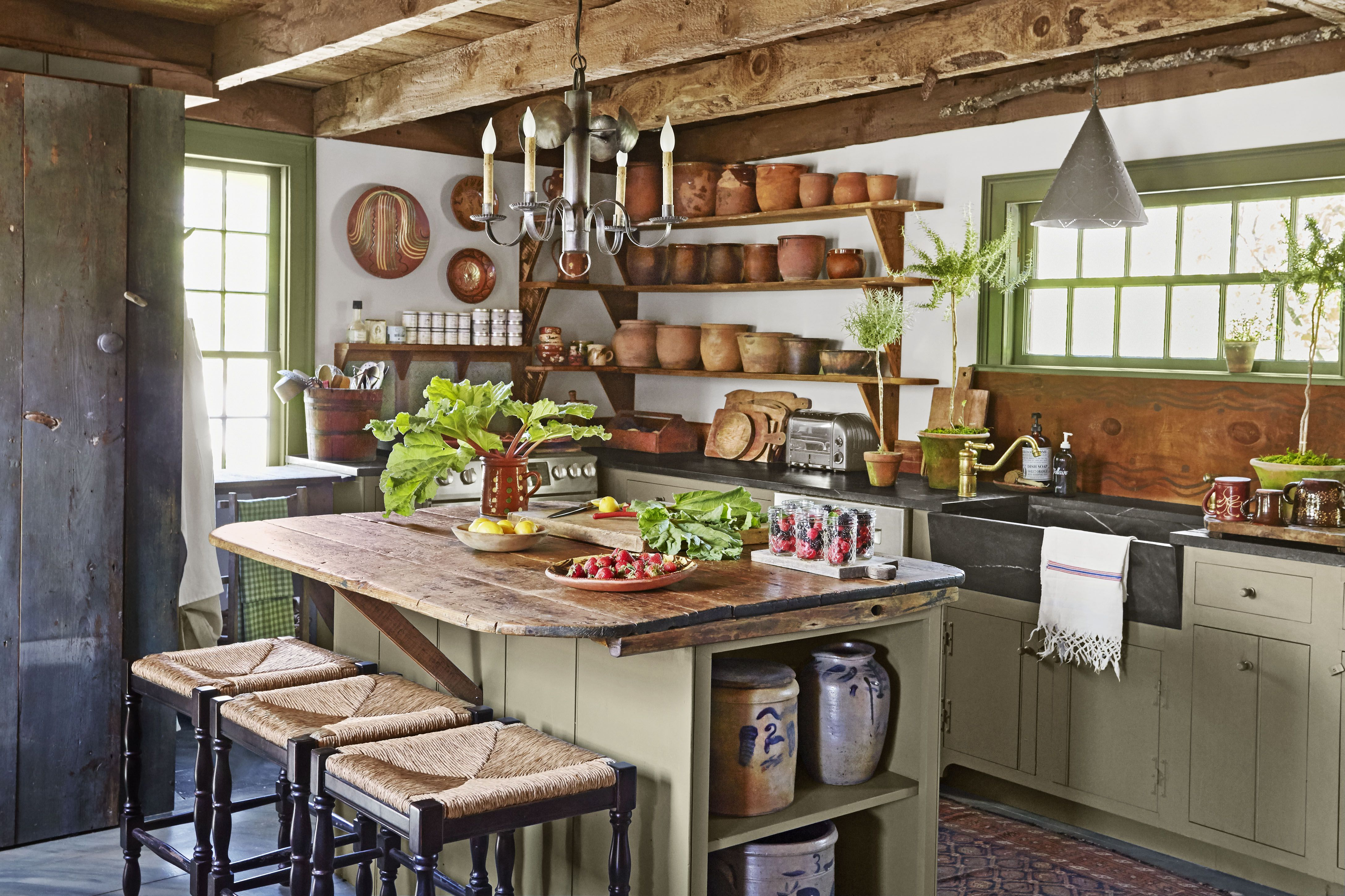 34 Farmhouse Style Kitchens - Rustic Decor Ideas for Kitchens on Farmhouse Rustic Kitchen Ideas  id=44424