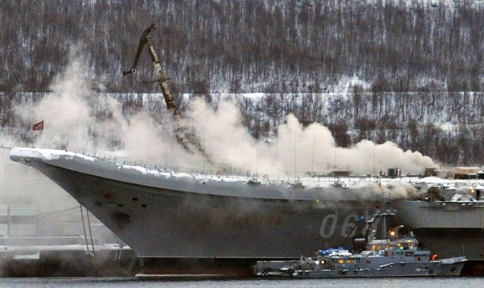 Admiral Kuznetsov aircraft carrier on fire in Murmansk, Russia