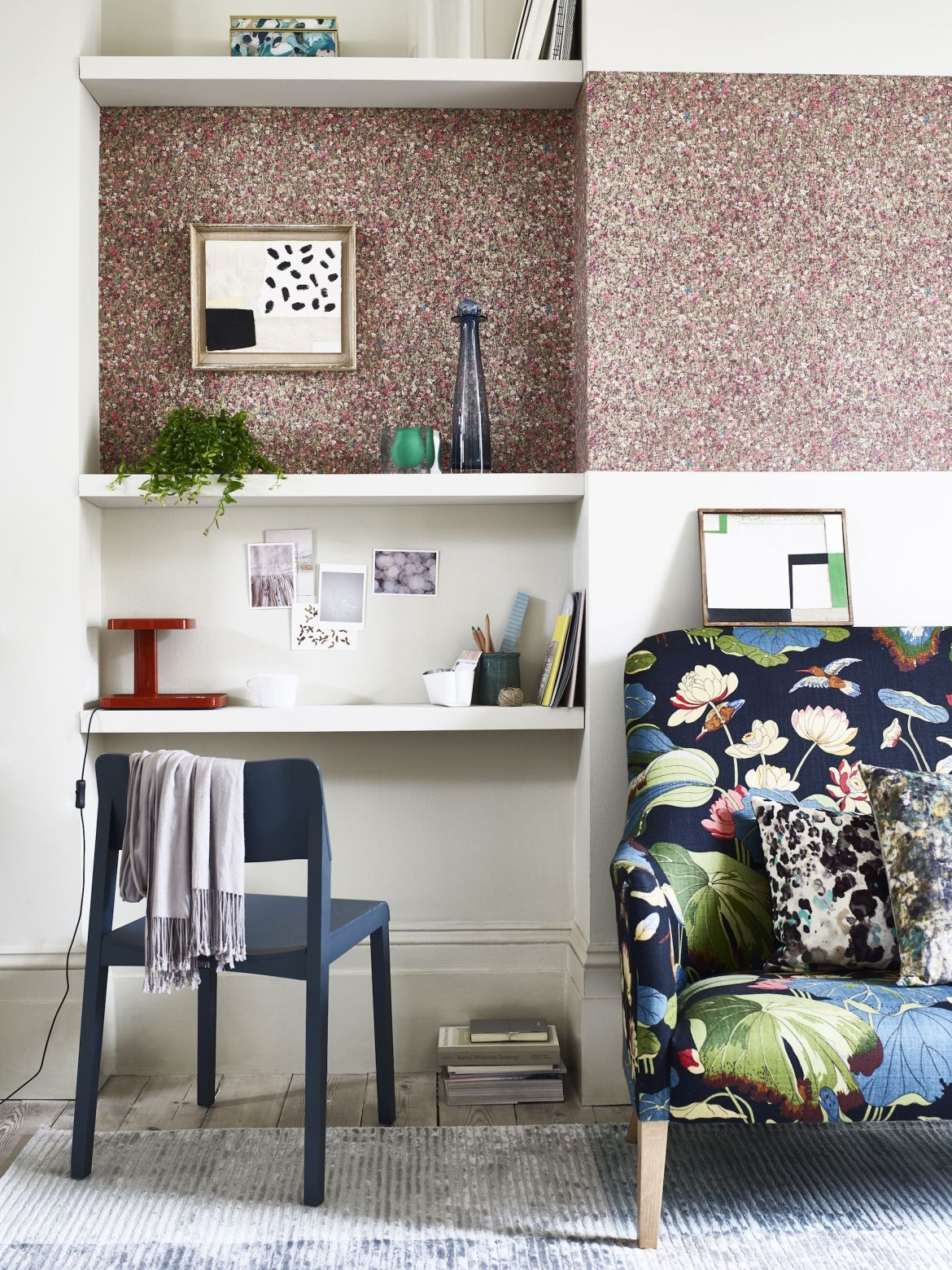 study or home office with floral wallpaper feature wall