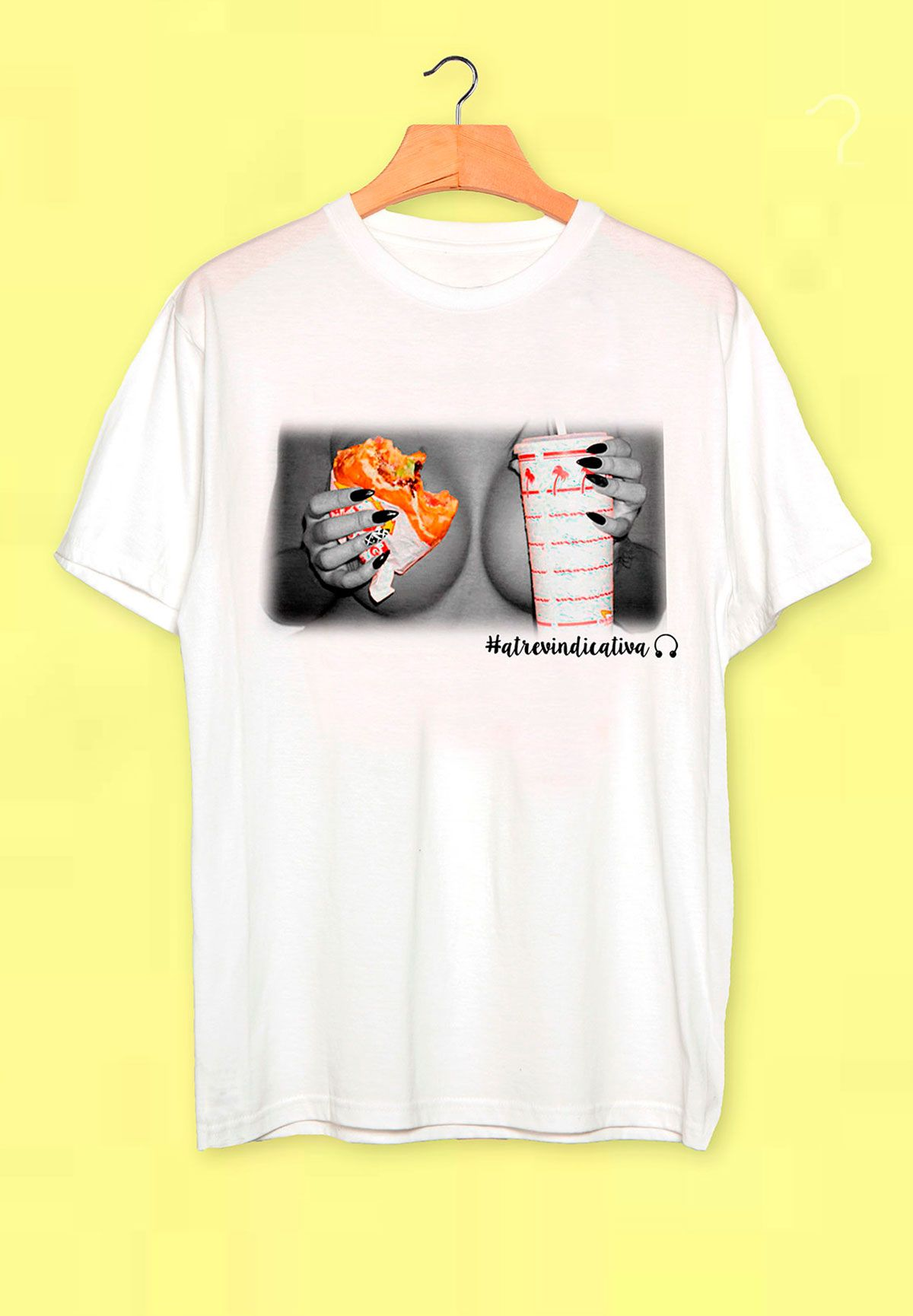 Atrevindicativa camisetas pecho: comida