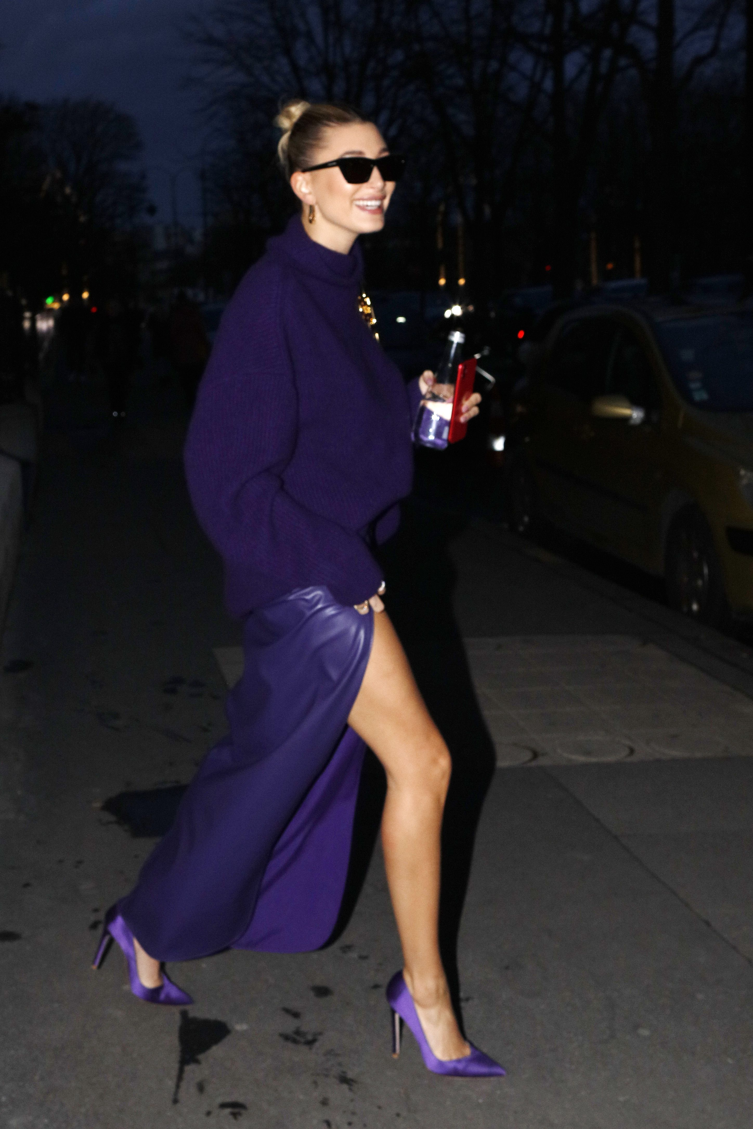 hailey bieber seen out and about in paris, france, on february 26, 2020 photo by mehdi taamallahnurphoto via getty images