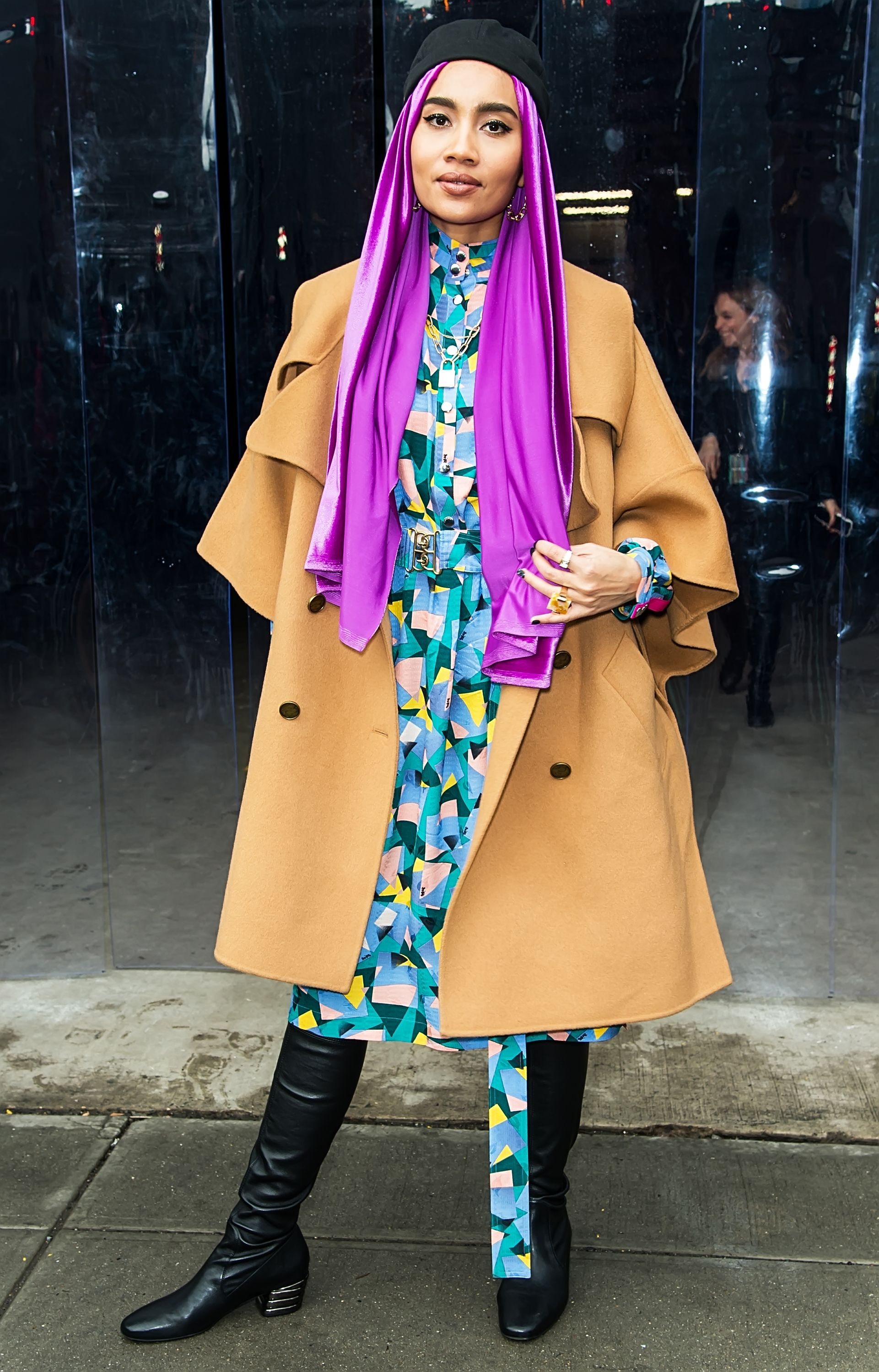 new york, new york   february 11 singer songwriter yuna is seen leaving the coach 1941 fashion show during new york fashion week on february 11, 2020 in new york city photo by gilbert carrasquillogc images