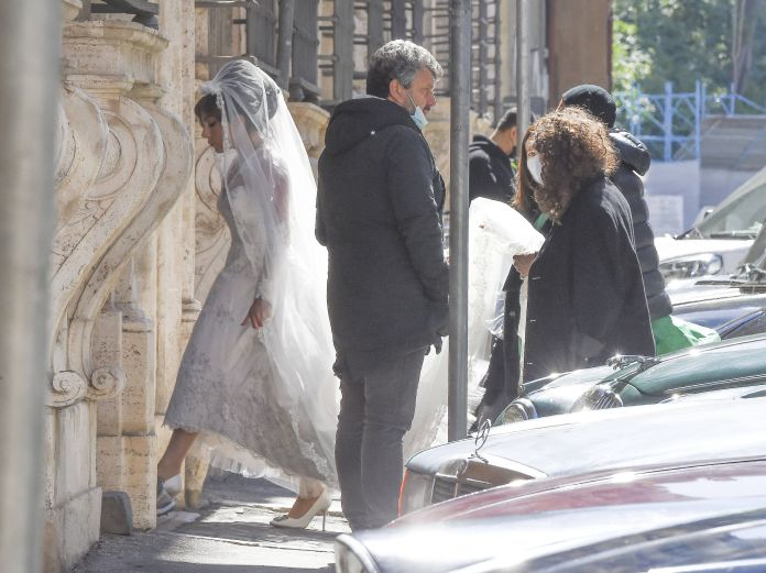 Rome, Italy April 08 Lady Gaga wears a wedding dress on the set of Gucci's House on April 8, 2021 in Rome, Italy Photo by Megagc Pictures