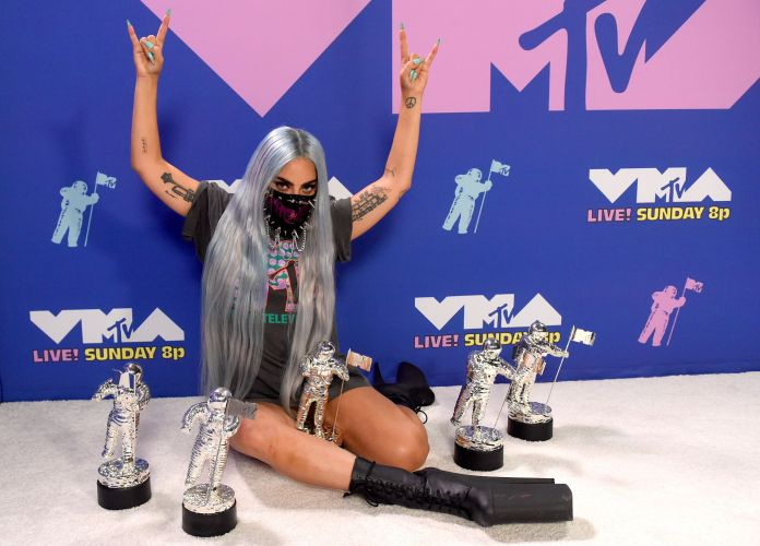 unspecified   august 2020 editors note this image has been digitally altered lady gaga poses with her awards during the 2020 mtv video music awards, broadcast on sunday, august 30th 2020 photo by kevin wintermtv vmas 2020getty images for mtv