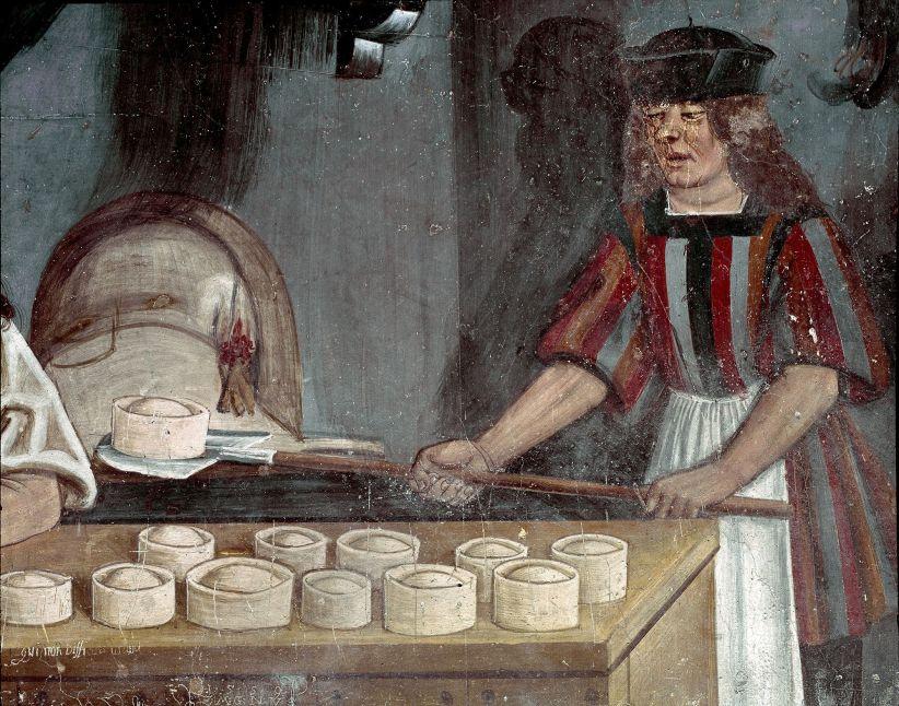 Imagen antigua pastelero y empanadas