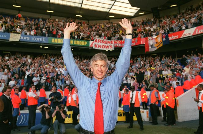 london, england   april 25  manager arsene wenger celebrates arsenal winning the premier league after the match between tottenham and arsenal at white hart lane on april 25, 2004 in london, england   photo by stuart macfarlanearsenal fc via getty images