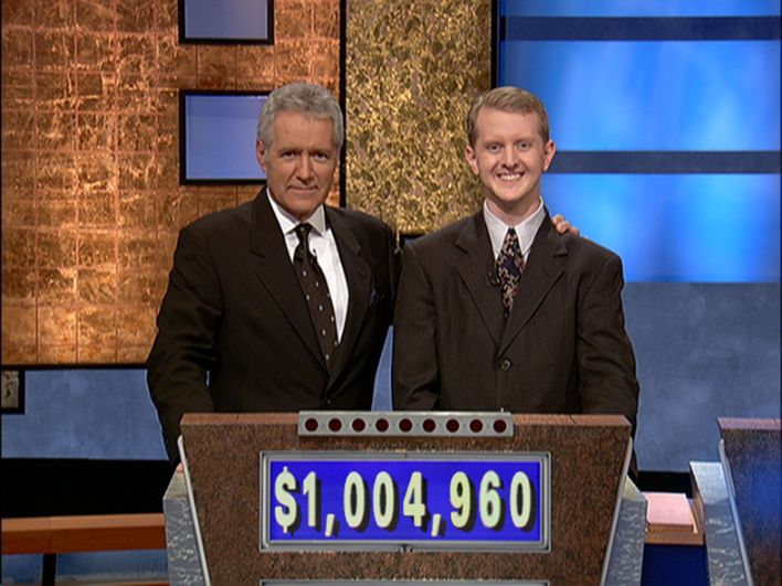 culver city, ca   july 14  jeopardy host alex trebek, l poses contestant ken jennings after his earnings from his record breaking streak on the gameshow surpassed 1 million dollars july 14, 2004 in culver city, california  photo by jeopardy productions via getty images